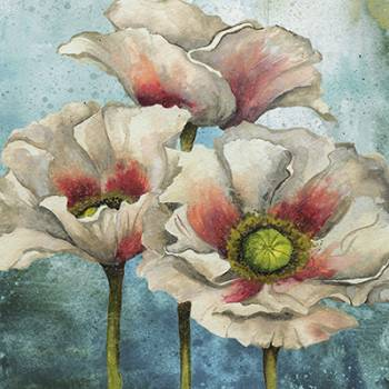 Poppies Over Blue I